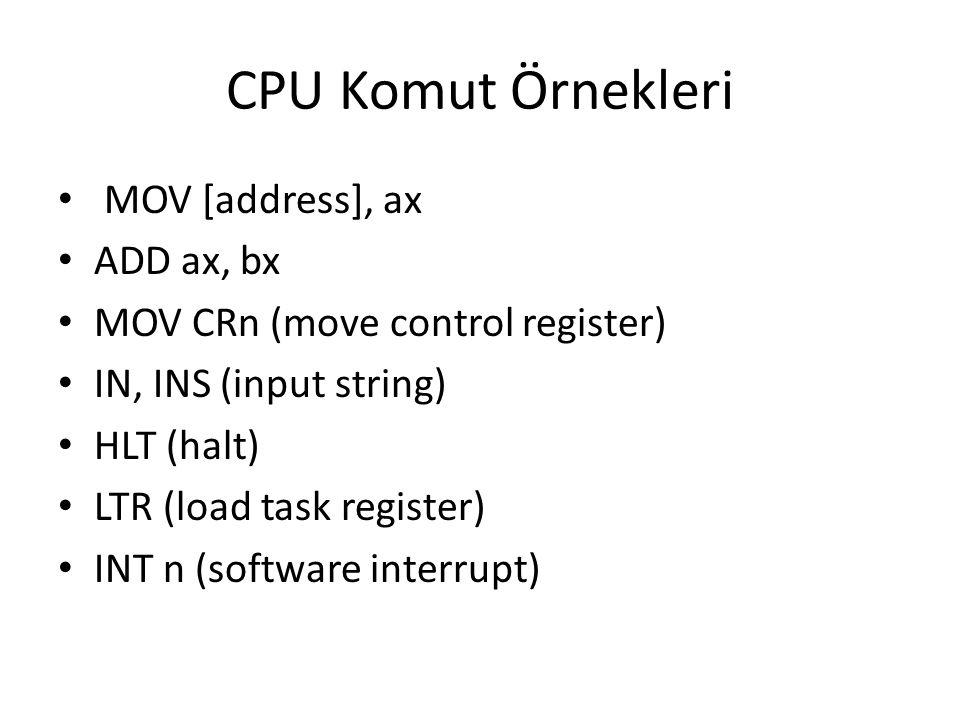 CPU Komut Örnekleri MOV [address], ax ADD ax, bx